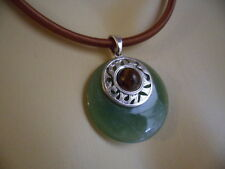 VINTAGE JADE GREEN and WOOD BEAD SILVER DISC ON SILK CORD NECKLACE