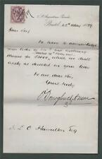 LETTER from O'Donoghue & Anson, Bristol 1889. I. L. Hamilton. zb.97