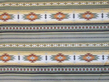 Navajo Native America Sage Green Tan Brown Border Print Cotton Fabric BTHY
