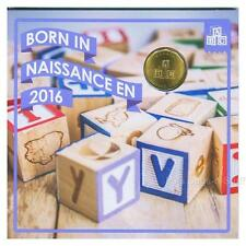 Born in 2016 Baby Gift Coin Set With Struck $1 Loonie ABC Blocks Canadian Mint