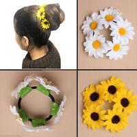 Hair Scrunchies Bun Flower Elastic Women Hairband Sunflower Daisy Wedding