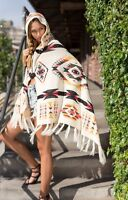IVORY AZTEC TRIBAL SOUTHWEST MOHAIR HOODIE CARDIGAN SWEATER SHAWL DRAPE S M L