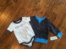 Lot of 2 baby boy tops 3-6 and 12 months bodysuit and sweater