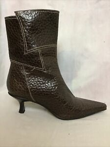 LADIES CHARLOTTA BACHINI BROWN LEATHER ANKLE BOOTS SIZE UK 35 UK 2
