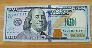 Fancy $100 Bill One Hundred Dollar Bill Blue Ribbon Circulated 2013