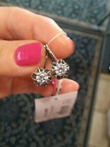 Classic Earrings 925 Sterling Silver with CZ (Russian Fianit). Made in Russia.