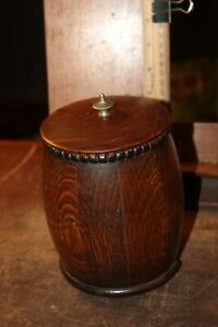 Antique Handmade Oak Porcelain Cup Tobacco Humidor Swiss Music Box  AS IS