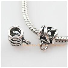 12Pcs Tibetan Silver Tube Charms European Bail Beads Fit Bracelet 8x11.5mm