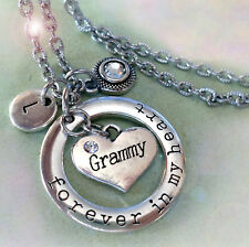 Grammy Forever In My Heart Necklace with Birthstone Crystal, Letter Charm