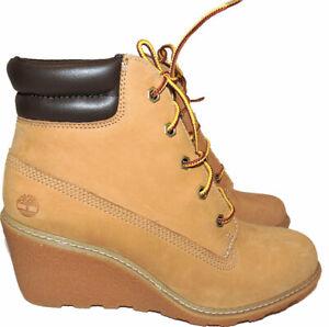 Timberland Wedge Boots Amston Nubuck Women Booties 7.5 Shoes