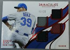 2019 Panini Immaculate Mets Edward Diaz Quad Patch Red Foil /25 NM