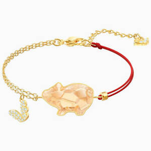 Swarovski Women's Bracelet Pets Pink Crystal Pig Yellow Gold Plated 5454468