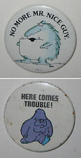 Vintage Pinback Monster Abominable Snowman Yeti & Blue Gorilla Ape Buttons Pins
