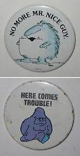 Vintage Pinback Monster Abominable Snowman Yeti & Blue Gorilla Ape Buttons Pins