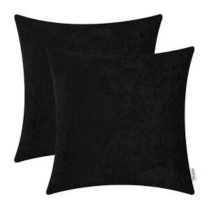 "2Pcs Black Cushion Cover Pillow Shells Solid Dyed Soft Chenille Car Decor 22x22"""