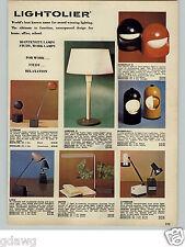 1971 PAPER AD Lightolier Lamp Lights Interplay I II Lytegem Baton Lytebeam