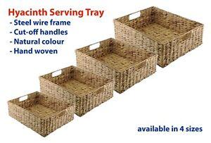Natural Hyacinth Woven Serving Tray Storage Bread Fruit Basket Gift Hamper