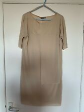 COS, EUR XS, BEIGE SHIFT CHIFFON PANEL SHORT DRESS, BNWT, RRP £69, SHORT SLEEVE