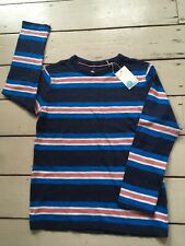 Bnwt Mini Boden Boys T Shirt Top Blue Striped 7-8 years