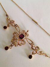 Beautiful Art Nouveau 15ct Gold Natural Seed Pearl & Garnet Set Necklace
