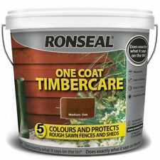 Ronseal One Coat Timbercare Fast Dry Garden Shed Fence Paint Medium Oak- 5 Liter