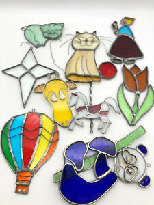 Stained Glass Sun Catchers All Hand Made 9 Pieces