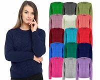 Ladies Women Cable Knit Crew Neck Long Sleeve Knitted Jumper Sweater Top 8-16