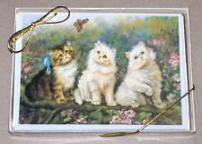 """Marian Heath / Adrienne Lester """"Puzzling Encounter"""" Cats & Butterfly Note Cards"""