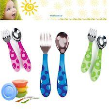 Munchkin Toddler Fork And Spoon Set Children's Utensils Pink, Blue or Green