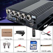 4 Channel Car HD Mobile DVR Real Time Video Recorder+128G SD 720P CCTV VGA USA