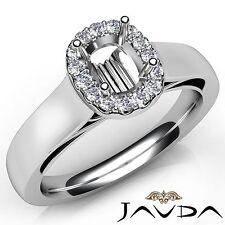 14k White Gold Cushion Diamond Engagement Halo U Cut Prong Semi Mount 0.2Ct Ring