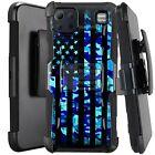 Holster Case For LG K92 5G (2020) Kickstand Phone Cover - BLUE CAMO US FLAG