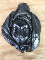 Handmade  Vintage Black Leather Face Mask Hanging Wall Art