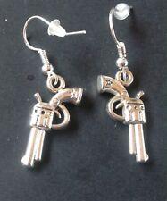 Silver Pistol  Earring on 925 Silver Hooks
