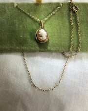 """Vintage FED 1/20 12K Gold Filled 1.6 Grams 0.5"""" Cameo Charm + 15"""" Necklace + Box"""