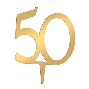 50th Anniversary Acrylic Mirror Cake Topper by Victoria Lynn - Gold