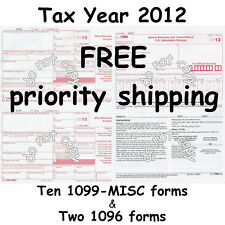 Ten 1099-MISC Miscellaneous Income 2012 IRS Tax Forms & 2 1096 Transmittal Forms