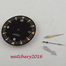New 31mm Black Dial Sapphire Glass Watch Dial + Hands for Eta 2824 2836 Movement