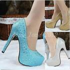 Hot Sale Gorgeous Womens Glitter Party Wedding High Heels Evening Prom Shoes SZ