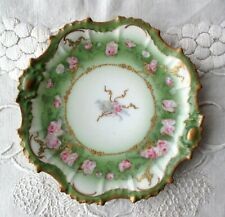 """LS&S Straus Limoges Pink Rose Floral Green Heavy Gold 7"""" Plate Circa 1890-1929"""
