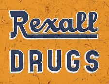 "TIN SIGN ""Rexall Drugs Orange"" Pharmacy Art Deco Garage Wall Decor"