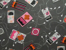 RETRO MUSIC IPOD EAR BUDS SONGS SPEAKERS GRAY COTTON FABRIC BTHY