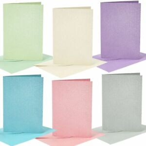 Blank Glitter Cards and Envelopes Craft Making Design Decorate Greeting Cards A6