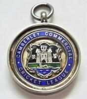 Camberley Commercial Cricket League Sterling Silver & Enamel 1934 Fob Medal