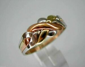 14k Tricolored Gold 4 Band Turkish Puzzle Ring- FREE SHIPPING!