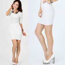 Sexy Women's Mini Skirt A-Line Clubwear Short Pencil Slim Pleated Bodycon Dress