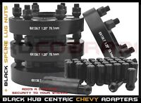 "COMPLETE SET CHEVY SILVERADO 6x5.5 BLACK 1.25"" THICK HUB CENTRIC WHEEL SPACERS"