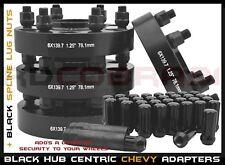 "COMPLETE SET CHEVY SILVERADO 6x5.5 BLACK 1.25"" THICK HUB CENTRIC WHEEL SPACERS"