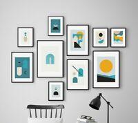 Minimal Home Abstract Drawn Teal Mustard Gallery Wall Art Poster Print Decor