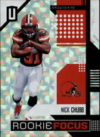2018 Panini Unparalleled Rookie Focus Hyper #12 Nick Chubb RC 24/25 Browns